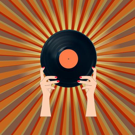 Retro vinyl record banner.EPS10