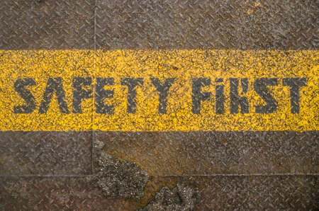 Safety first, message on the floor photo