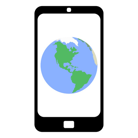 flat earth: Flat design smartphone with the Earth on a screen with a white background. No transparency, no blending.