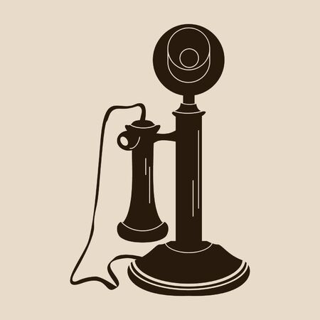 old phone: Retro telephone. Old fashioned phone icon made with no blending or transparency. Isolated shape.