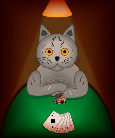 multiple image: image of a cat that plays poker in a dark room only lighten by a lamp, with poker chips and cards that represent full house on a green table. Made with multiple blending and transparency.