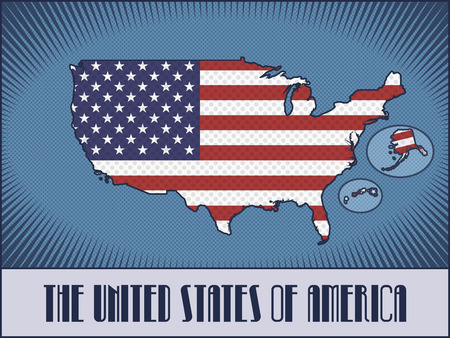 modes: Vector map of the United States of America with Alaska and Hawaii in colors of the American flag made in retro style with Ben-Day dots. With transparency and blending modes.