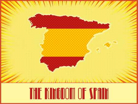 ben day dot: Vector map of Spain in colors of the official Spanish flag made in retro style with Ben-Day dots. With transparency and blending modes. Illustration