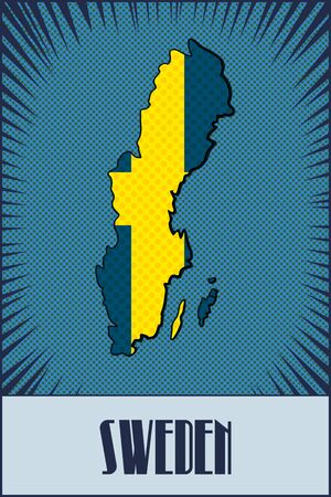 sweden map: Vector Sweden map with the colors of the official Sweden flag. Made in comic book style. With transparency and blending.