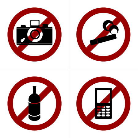 photo shooting: Set of four prohibition icons: no smoking, no photo shooting, no drinking, no cell phones. Simple isolated pictogram on a white background.