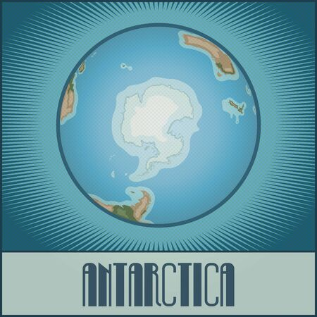 cartoony: Vector flat cartoony globe of the Earth with Antarctica side. Made in retro style with Ben-Day dots. With gradients, transparencies and blending modes.
