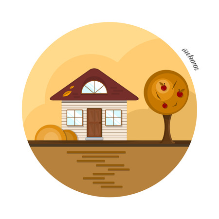 attic: Vector flat house in autumn season. A beige house with a dark red roof, two casual windows and an attic window. With an apple tree, red apples and orange bushes. The shadows made with transparencies.
