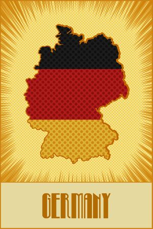 ben day dot: Germany map in colors of the official Germany flag made in retro style with Ben-Day dots. With transparency and blending modes.