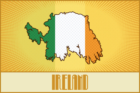 irish map: Vector map of Ireland in colors of the Irish flag made in  retro style with Ben-Day dots. With a transparency and a blending mode. Illustration