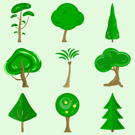 A set of flat vector trees containing 9 colorful pictures of green trees made from simple shapes. Illustration
