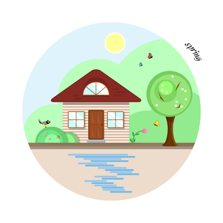 Vector flat house in spring season. A beige cottage with a dark red roof, two casual windows and an attic window. With a tree, butterflies and a bird. The shadows made with transparencies. Illustration