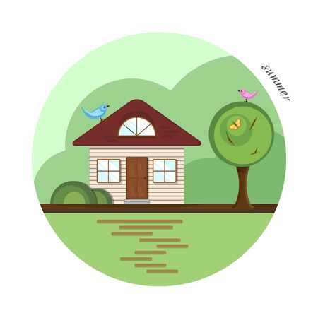 Vector flat house in summer season. A beige house with a dark red roof, two casual windows and an attic window. With a tree, a butterfly and colorful birds. The shadows made with transparencies.