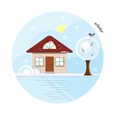 Vector flat house in winter season. A beige cottage with a dark red roof, two casual windows and an attic window. With a tree and a bird. The shadows made with transparencies. Illustration