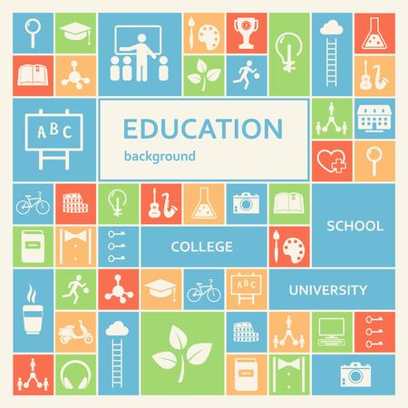 교육: 교육 및 학교 아이콘 배경 일러스트