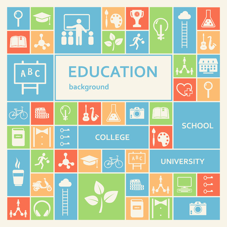 school class: Education and School Icons Background Illustration