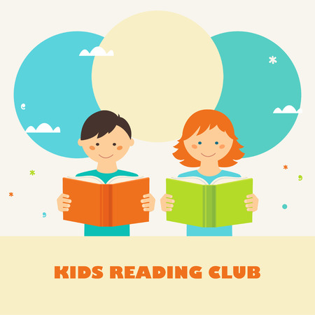 reading books: Boy and Girl Reading Books. Kids Reading Club Sign. Reading and Education Concept