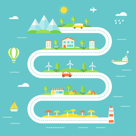 journeys: Road Illustration with Mountains, Fields, Town, Wind Electric Stations, Camp and Beach Areas. Travel, Tourism, Sustainable Lifestyle Concept