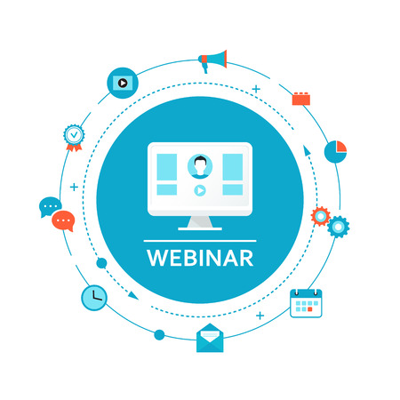 Webinar Illustration. Online Education and Training. Distance Learning Vettoriali