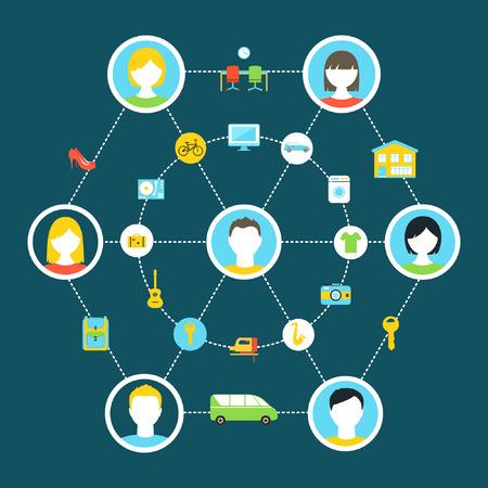 economia: Consumo colaborativo y compartido Economía ilustración del concepto