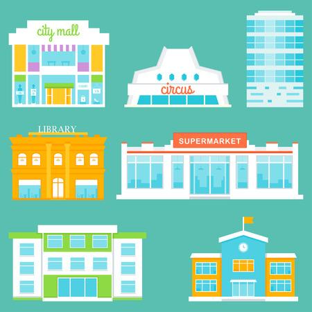 Stadsgebouwen instellen. Winkelcentrum, Circus, Kantoorgebouw, Bibliotheek, Supermarkt, School Stockfoto - 42069098