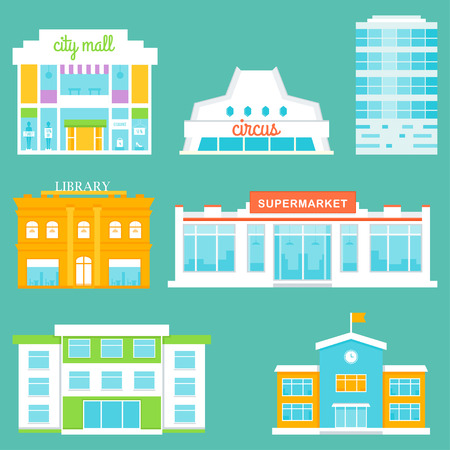 City Buildings Set. Shopping Mall, Circus, Office Building, Library, Supermarket, School