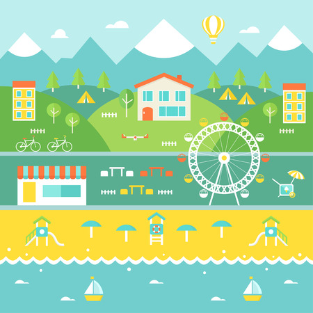 Resort Town Landscape. Mountains, Houses, Trees, Cafe, Beach, Ocean. Tourism and Recreation Concept