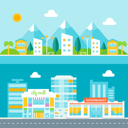 promenade: Resort Town and Business City Illustrations. Cityscapes in Flat Design