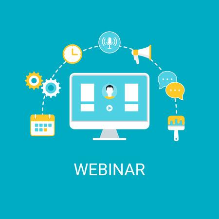 livestream: Computer Surrounded by Icons. Webinar, Webcast, Livestream, Online Event Illustration