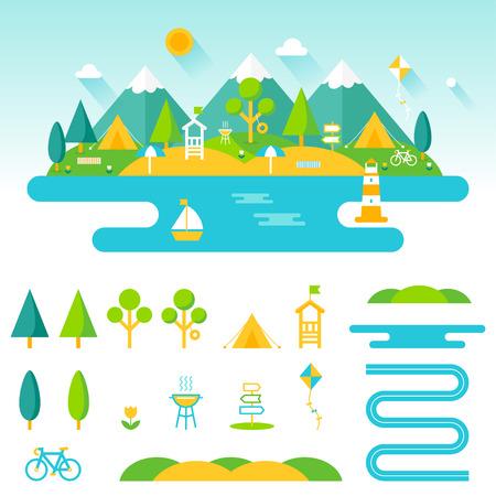 campamento: Lago, playa, bosques y montañas paisaje verano. Conjunto de, camping y recreación elementos al aire libre para crear diseños personalizados