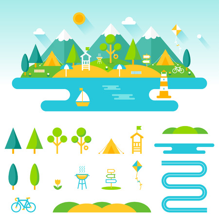 camp: Lake, beach, woods and mountains summer landscape. Set of outdoor, camping and recreation elements to create custom designs