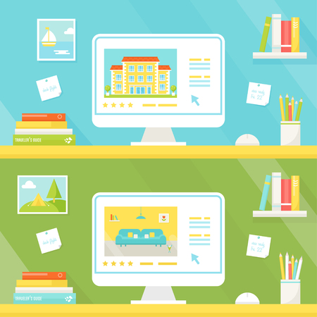 book reviews: Booking and Renting Hotel or Apartment Online. Rental Websites and Trip Planning Illustration Illustration