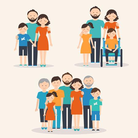 家人: 核心家庭,家庭有特殊需要的兒童和大家庭。不同類型的家庭 向量圖像