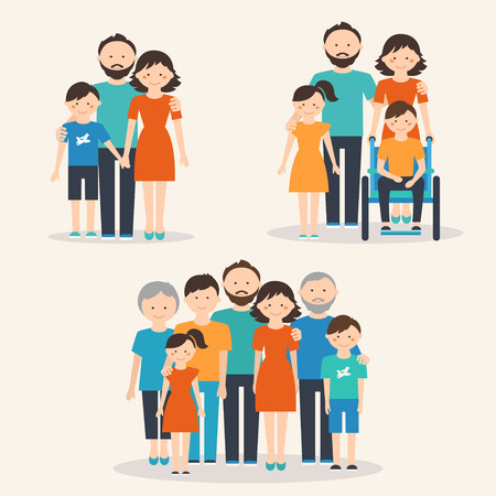 Nuclear Family, Family with Special Needs Child and Extended Family. Families of Different Types