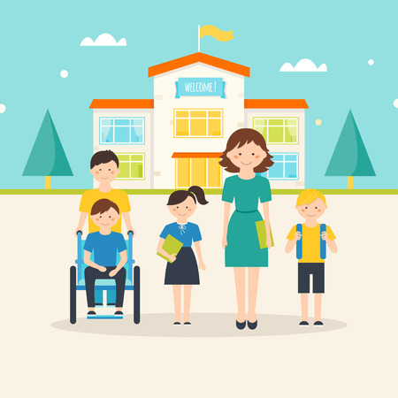 onderwijs: Jonge studenten, kinderen met speciale behoeften en vrouwelijke leraar in de voorkant van schoolgebouw met welkomstbord