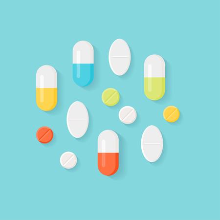 medicina: Píldoras de la medicina. Tabletas coloridas