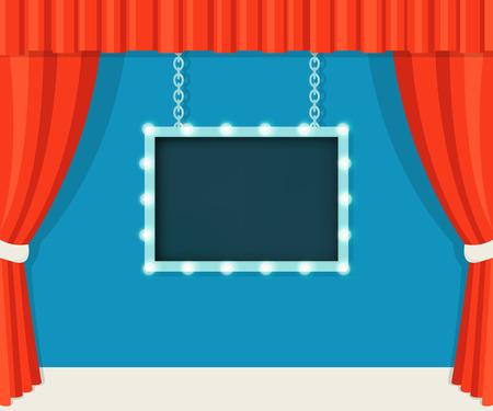 赤いカーテンとマーキー ビンテージ ステージ ボードをモック