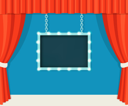 movie: Vintage Stage with Red Curtains and Marquee Board Mock Up
