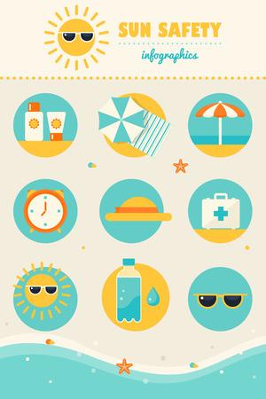sole: Sole e Spiaggia Sicurezza Regole Infografica Set di icone. Pelle di protezione e assistenza sanitaria in estate