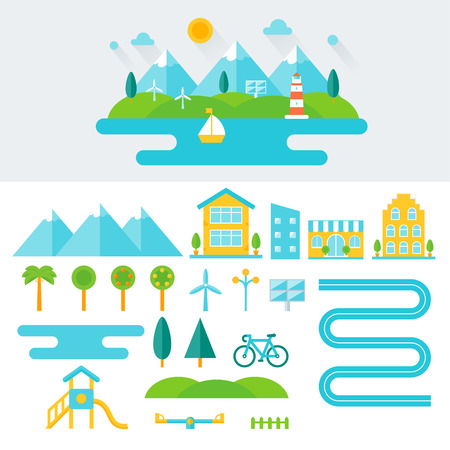 street light: Mountain Landscape Illustration and Set of Elements. Eco-friendly Lifestyle and Sustainable Living Concept. Flat Design