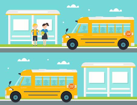 colegio: Colegial y colegiala Esperando el autobús escolar en la parada de autobús. Autobús escolar Dejando parada de autobús Vectores
