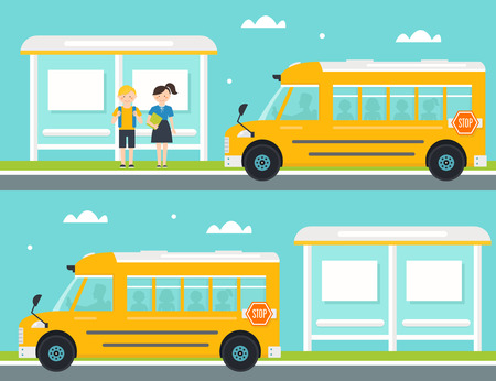 home school: Schoolboy and Schoolgirl Waiting for School Bus at Bus Stop. School Bus Leaving Bus Stop