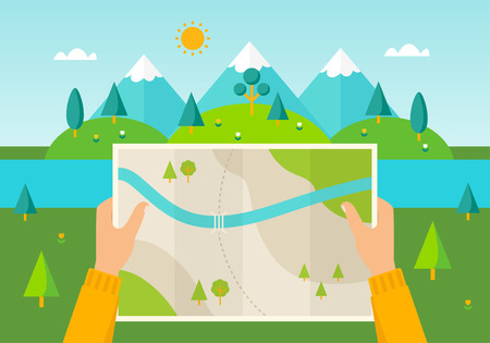 Man on a hiking trip holding a map in his hands. Nature landscape of mountains, hills, meadows and river. Hiking, camping, planning a trip illustration Çizim