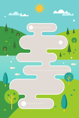 Stylized Road Map Illustration against Countryside Hills and River Background. Vertical Infographics Template Vettoriali