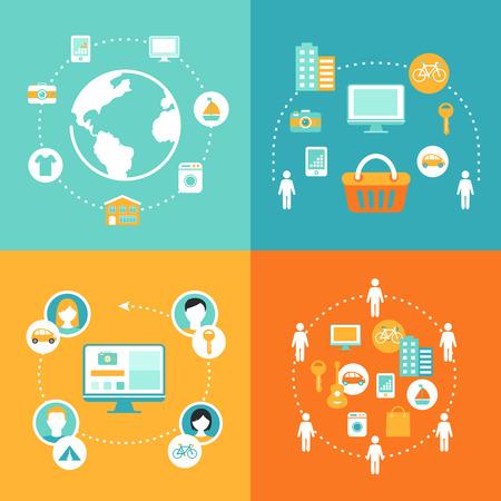 peer to peer: Compartiendo Economía y Consumo de Colaboración ilustración del concepto Vectores