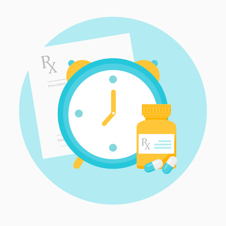 Medicine Prescription, Clock and Bottle with Pills Illustration.