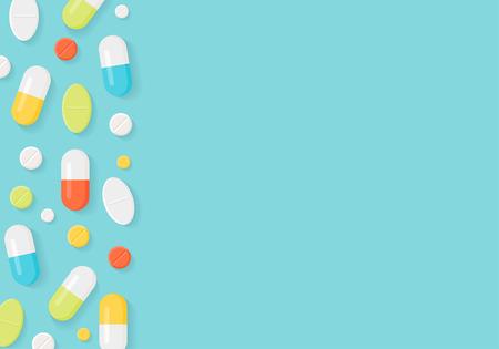 의학 약은 배경 테두리입니다. 다채로운 정제 및 캡슐