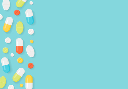 pharmacy pills: Medicine Pills Border Background. Colorful Tablets and Capsules