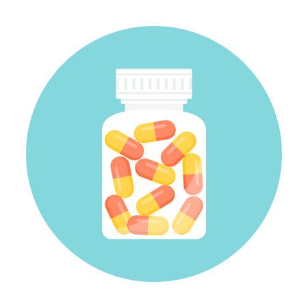 medicamentos: Medicina de las p�ldoras de la c�psula en la botella. Icono redondo