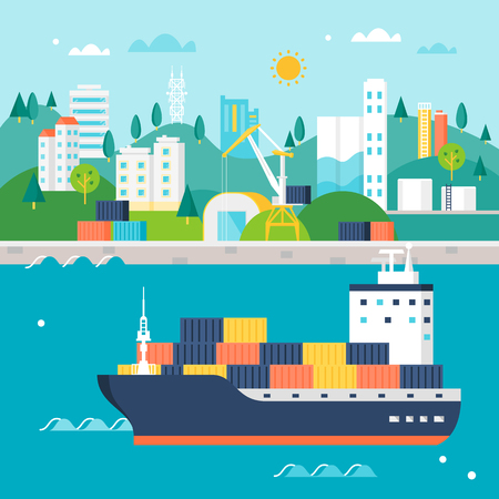 Container Cargo Ship and Port with Cranes, Warehouses, Tanks and Buildings. International Shipping Illustration Ilustração