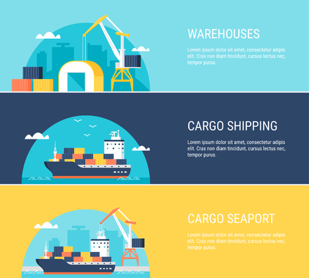 transportation facilities: Cargo Warehouse Facilities, Shipping, Transportation and Seaport Horizontal Banners. Flat Design